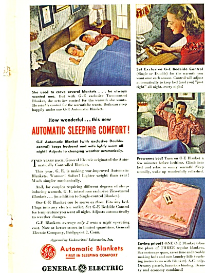 1946 General Electric  Blanket AD Cute Couple (Image1)