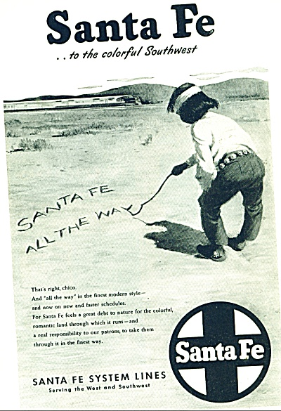 1946 Santa Fe Railroad AD INDIAN BOY (Image1)