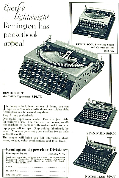 1932 Remington Typewriter AD - Original Advertisement  (Image1)