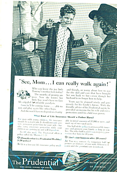 1941 Prudential Insurance AD BOY WALKS AGAIN (Image1)