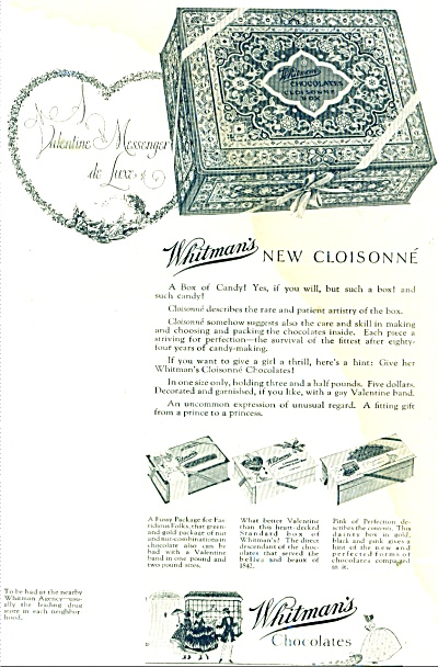 1926 Whitman's New cloisonne chocolates AD (Image1)