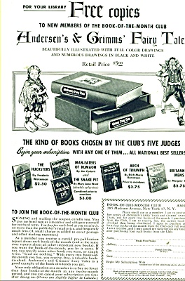 Book Of The Month Cl;ub Ad 1946