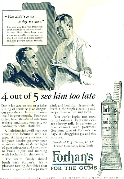 1926 Forhan's for the Gums AD KARL GODWIN ART (Image1)