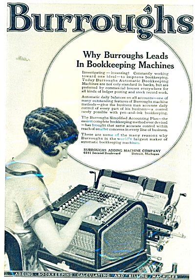 Burroughs Bookkeeping Machines Ad 1926