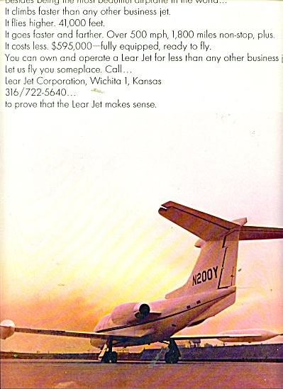Lear Jet airplanes ad 1966 (Image1)
