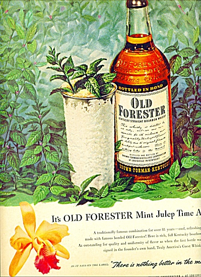 Old Forester Whiskey AD MINT JULEP ART (Image1)