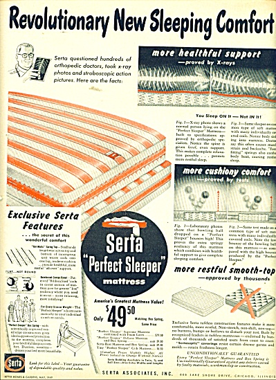 Serta Perfect sleeper mattress ad 1949 (Image1)