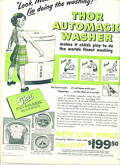 Thor Automagic washer ad  1949 (Image1)