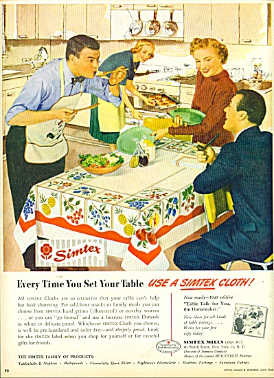 1949 SIMTEX Tablecloth AD MAN IN APRON (Image1)