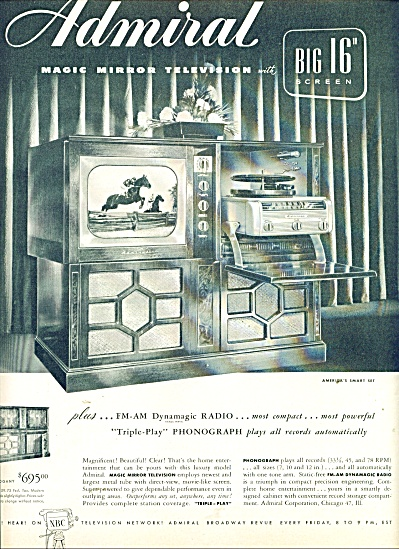 Admiral Television Ad - 1949