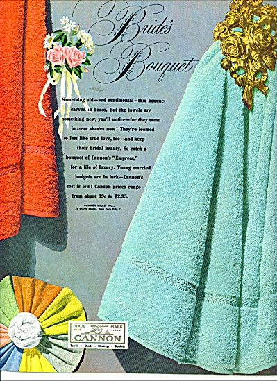 Cannon towels ad  1949 BRIDES BOUQUET (Image1)