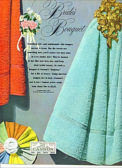 Cannon towels ad  1949 BRIDES BOUQUET (Image1)