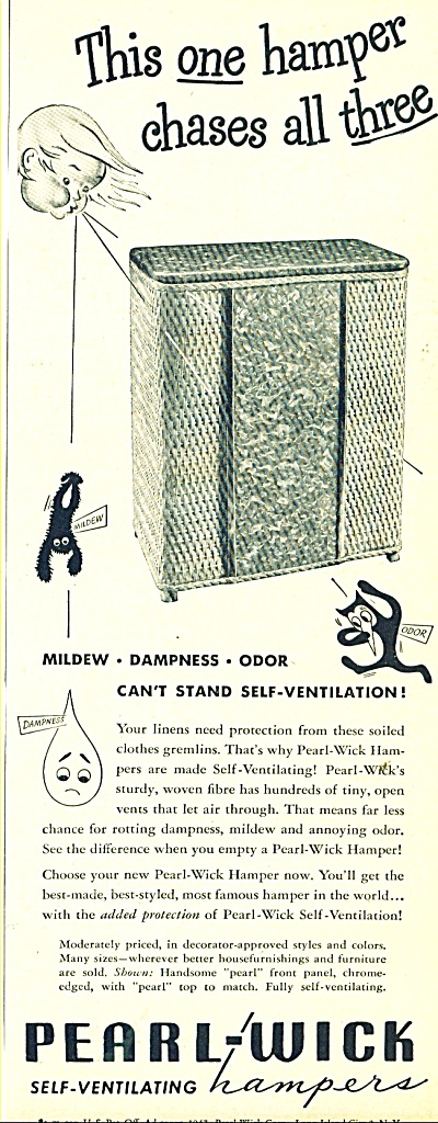 Pearl-Wick self ventilating Hampers ad 1947 (Image1)