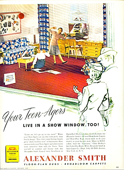 1947 Alexander Smith Rug AD TEEN GIRLS  MUSIC (Image1)