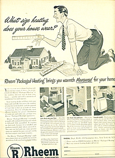 Rheem home comfort appliances ad 1947 (Image1)