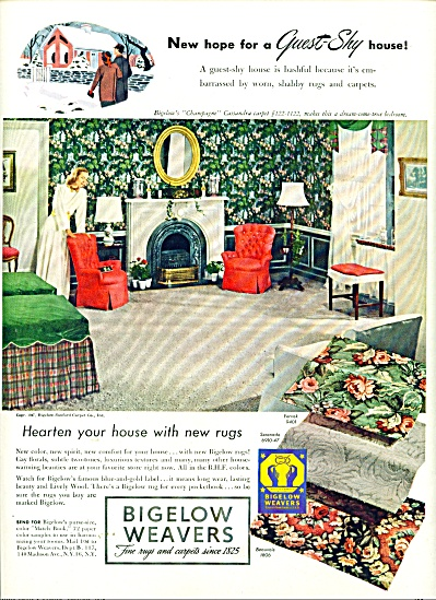 Bigelow Weavers ad 1947 VINTAGE DECOR (Image1)