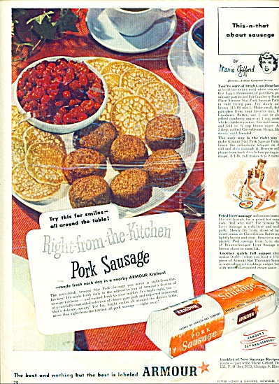 Armour Pork sausage ad 1947 (Image1)