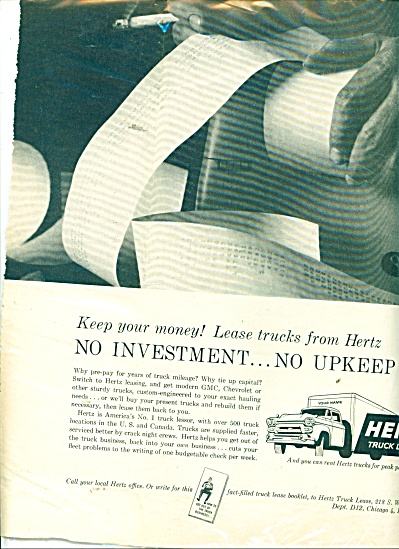 Hertz Truck lease ad 1959 (Image1)