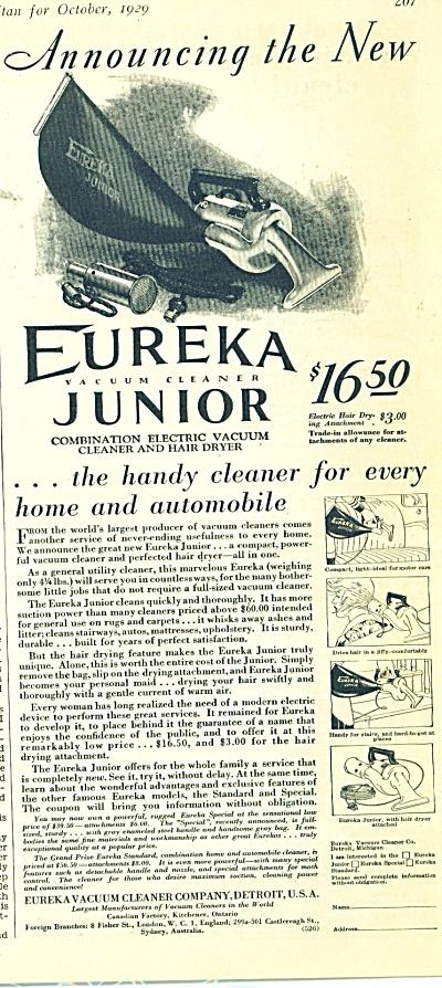 Eureka Vacuum cleaner Junior ad 1929 (Image1)