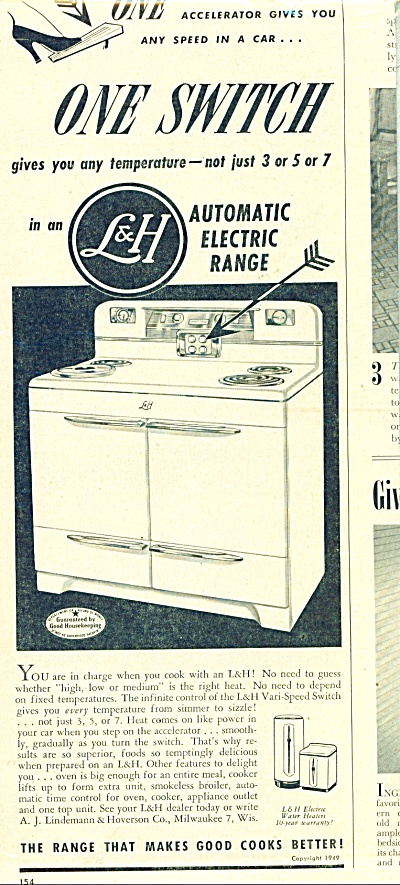 L & H automatic electric range ad 1949 (Image1)