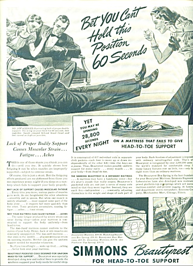 1938 Simmons Beautyrest mattress ad ARTWORK (Image1)
