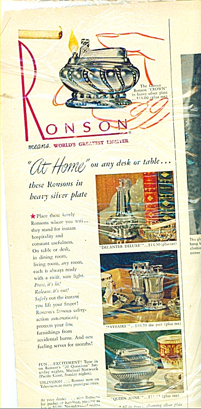 Ronson worlds greatest lighter ad  1948 (Image1)