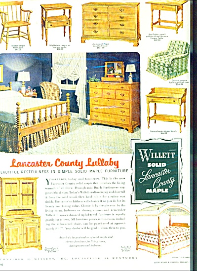 Willett Lancaster county maple furniture ad (Image1)