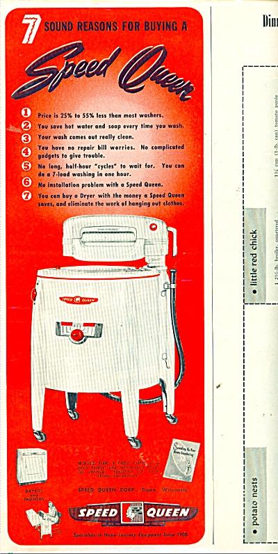 Speed Queen washing machine ad 1952 (Image1)