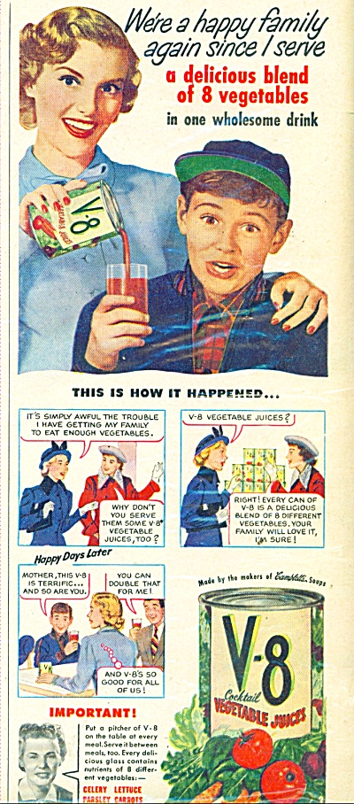 V-8 Vegetable juices ad 1948 (Image1)