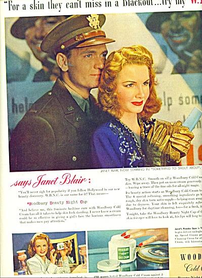 1943 Woodbury Cold Cream ad - JANET BLAIR AD (Image1)