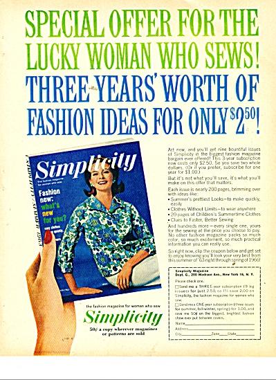 1963 Simplicity Fashion Magazine AD (Image1)
