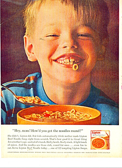 Lipton beef flavor noodle soup ad 1963 (Image1)