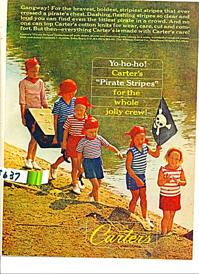1963 Carter's clothes AD PIRATE STRIPES Pic (Image1)