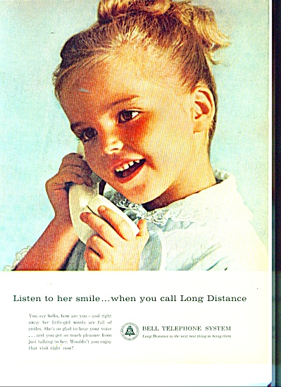Bell Telephone System  ad 1963 HELLO LONG DISTANCE (Image1)