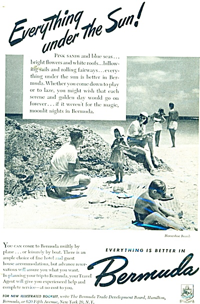 1948 Bermuda Travel AD Family Horseshoe Beach (Image1)