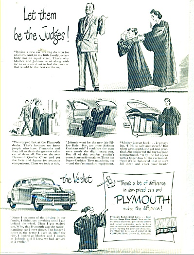 Plymouth Automobile Ad 1948