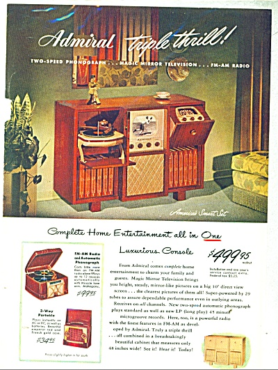 Admiral Tv, Radio, Phonograph Ad 1948