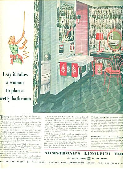 1951 Armstrong Linoleum AD RETRO BATHROOM (Image1)