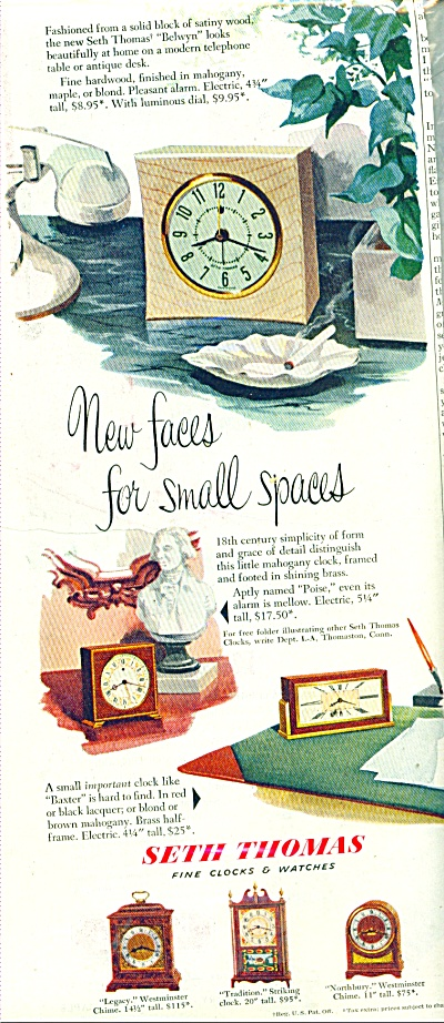 Seth Thomas Clocks And Watches Ad 1951