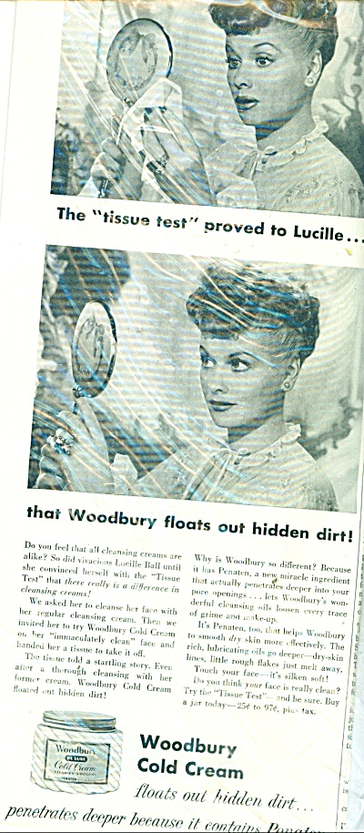 1951 Woodbury Cold Cream - LUCILLE BALL  ad (Image1)