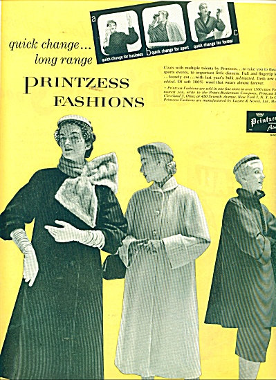 1951 Printzess Fashions AD THREE Models COATS (Image1)