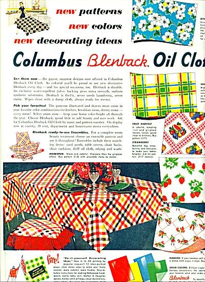 Columbus Blenback Oil cloth ad 1951 (Image1)