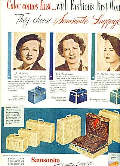 1951 Samsonite Luggage AD Jo Stafford Ceil Ch (Image1)