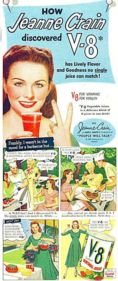 V-8 Vegetable juices ad 1951 JEANNE CRAIN (Image1)