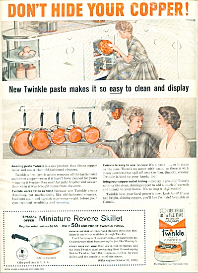 Twinkle paste copper cleaner ad 1958 (Image1)