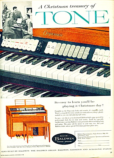 Baldwin organs and pianos ad 1958 (Image1)
