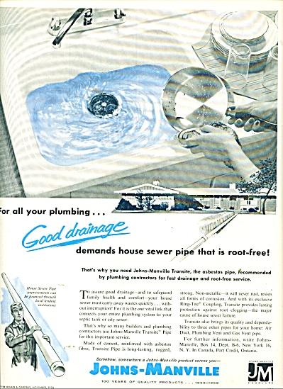 1958 RARE Johns Manville ASBESTOS PLUMBING PI (Image1)