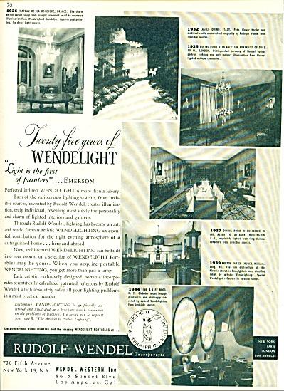 Rudolph Wendel  Wendelight ad 1947 (Image1)