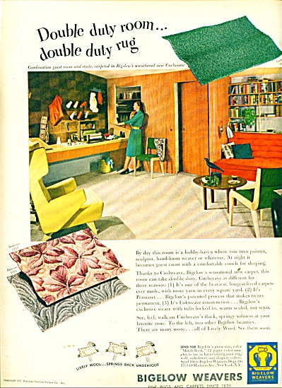Bigelow Weavers ad 1947 DECORATING IDEA (Image1)
