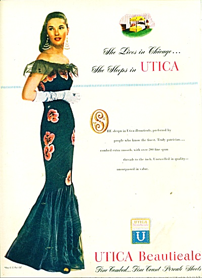 Utica Beauticale percale sheets ad 1947 (Image1)